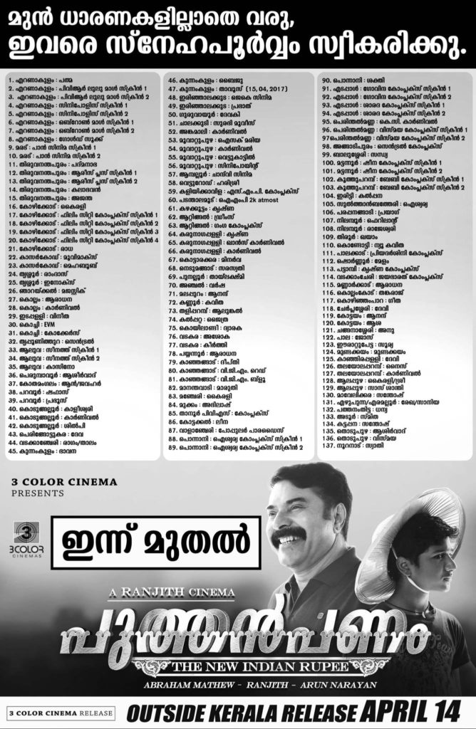 Puthan Panam - Kerala Theater List